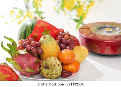 Delicious exotic fruits on table served for New Year celebration