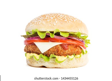 Delicious fast food. Big cheeseburger isolated on white background