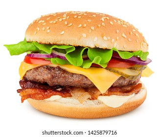 delicious fast food, burger, hamburger, cheeseburger, isolated on white background, full depth of field, clipping path