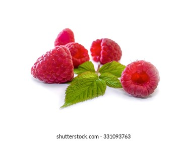 Delicious first class fresh raspberries isolated on white background