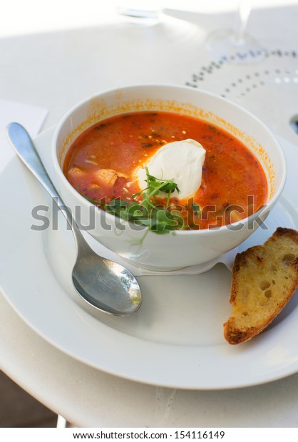 Delicious fish soup from fresh salmon