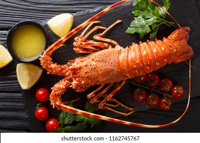 Delicious food: boiled spiny or rocky lobster with tomato, lemon and melted butter close-up on a black board. horizontal top view from above