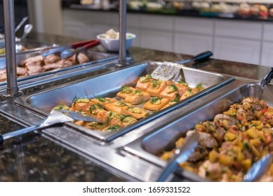 A delicious food buffet with a blurred background