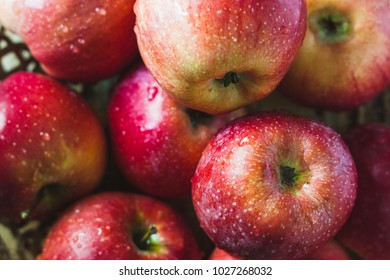 Delicious fresh apples on a wooden plate. place for text.