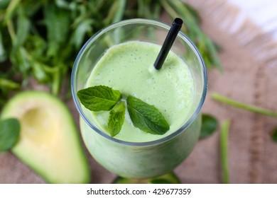 Delicious fresh avocado smoothie