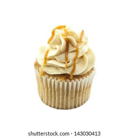 A delicious fresh baked caramel cupcake isolated on a white square cropped background