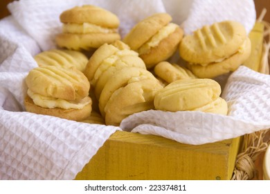 Delicious fresh baked melting moments shortbread biscuits ready to serve.