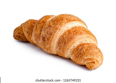 Delicious, fresh croissant on a white background. Croissant isolated. French breakfast