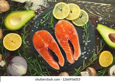 Delicious fresh fish steaks, salmon, trout. Clean and tasty food