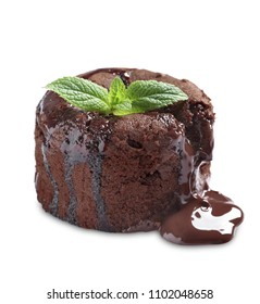 Delicious fresh fondant with hot chocolate on white background. Lava cake recipe