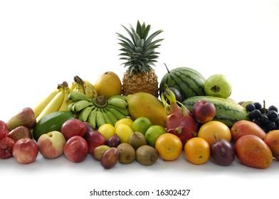 Delicious fresh fruits on white background