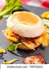 Delicious fresh hamburger close-up shot.
