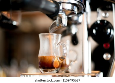 Delicious fresh morning coffee with beautiful tiger crema pouring