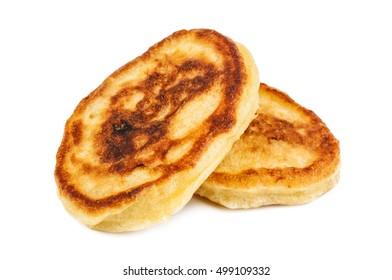 delicious fresh pancakes on white background