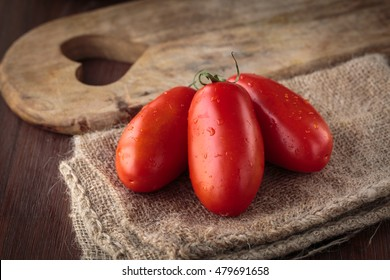 Delicious fresh raw San Marzano tomatoes for an healthy meal