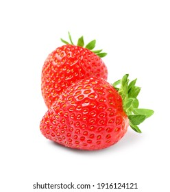 Delicious fresh red strawberries on white background