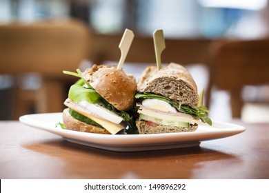 Delicious fresh sandwich waiting for its hungry owner in a welcoming coffee shop