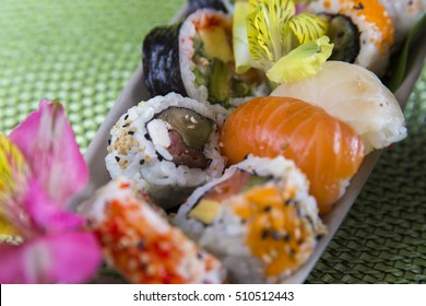 Delicious Fresh Sushi rolls plate