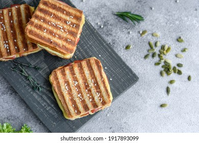 Delicious fresh toast grill with cheese and ham. Sandwiches, quick snack