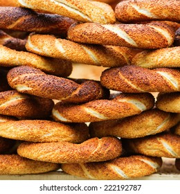 Delicious fresh Turkish bagels (also called simits)