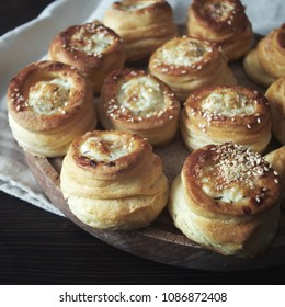 Delicious freshly baked pastry filled with cheese, close up