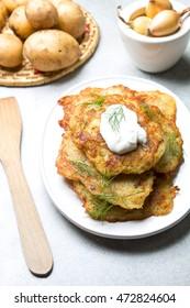 Delicious fried potato pancakes