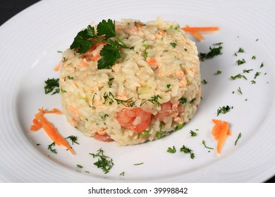 Delicious fried rice with seafood in the near term