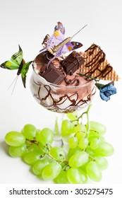 delicious frozen dessert of chocolate and cream in glass
