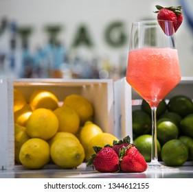 Delicious Frozen Strawberry Daiquiri Garnished With Fresh Fruit