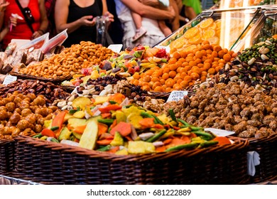 Delicious fruit and nuts on a market stand in Barcelona, Spain
