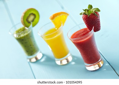 Delicious fruit smoothies and juices