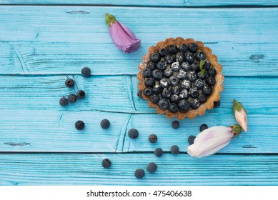 Delicious fruit tart made with  blueberries