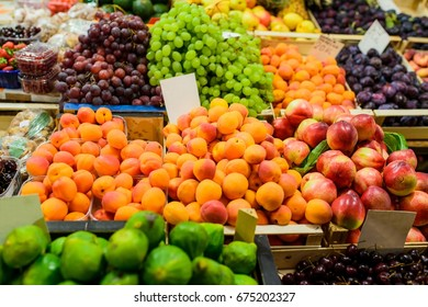 Delicious fruits and vegetables on the outdoor marketplace