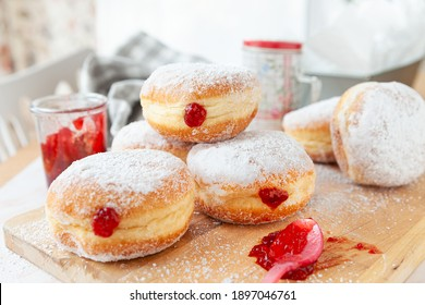 Delicious German donuts filled with jam and powderd sugar