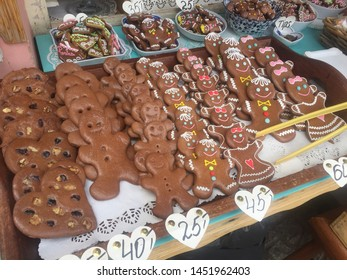 Delicious Gingerbread cookies in a little  street store