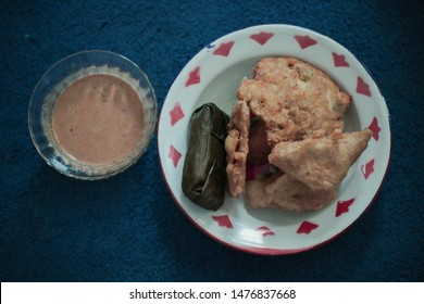 Delicious Gorengan with Spicy Peanut Sauce and Spicy Eggs. Indonesian Traditional Food from Betawi, Jakarta.