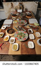 Delicious gourmet appetizers. Turkish kebab and raki dishes.