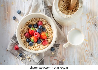 Delicious granola with fresh fruits as healthy meal