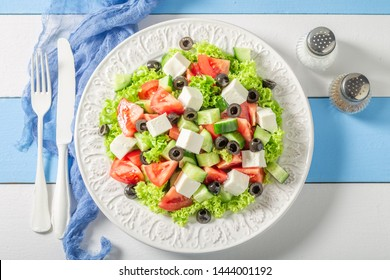 Delicious Greek salad with tomatoes, lettuce and feta cheese