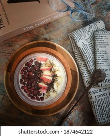 Delicious Greek Yoghurt Plain with 					Topping Sweet Pomegranate, Apel, Chiaseeds and Banana