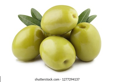 Delicious green olives with leaves, isolated on white background