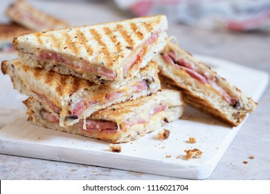 Delicious grilled cheese sandwich with a ham