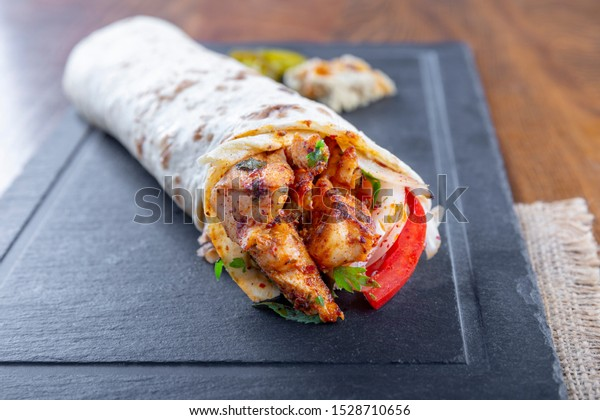 Delicious Grilled Chicken Kebab Wrap Onion Stock Photo Edit Now 1528710656