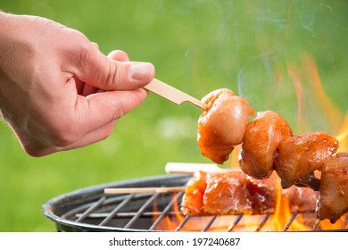 Delicious grilled chicken skewers on fire