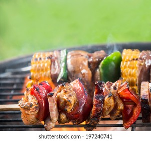 Delicious grilled meat skewers on fire