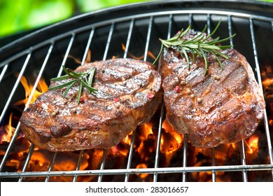 Delicious grilled meat with vegetable over the coals on a barbecue