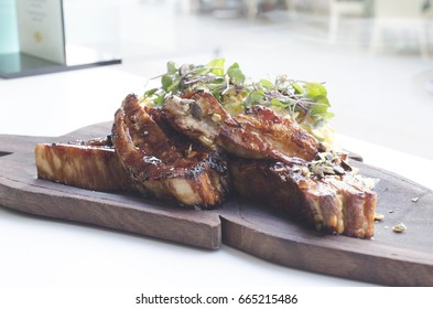 Delicious grilled ribs served in a restaurant