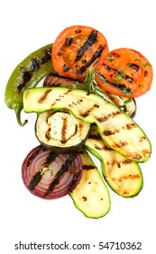 Delicious grilled vegetables isolated on white background
