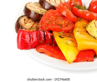 Delicious grilled vegetables on plate isolated on white