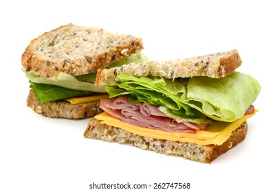 delicious ham sandwich on white background